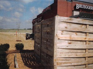 Commercial Custom Wood Basketweave Dumpster Enclosure